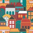 Abstract texture with houses - Stock Vector