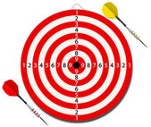 Red lined dartboard with two darts — Stock Vector