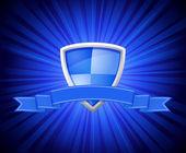 Bouclier avec ruban bleu pour message — Vecteur