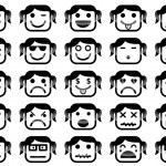 Girl smiley faces — Stock Vector