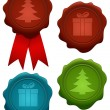 Set of christmas wax seals — Stock Vector