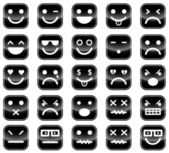 Black smiley icons — Stock Vector