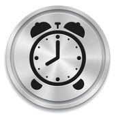 Vector illustration of metal rounded button with alarm clock sig — Stock Vector