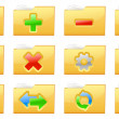 Yellow folder management and administration icons — Imagen vectorial