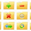 Yellow folder management and administration icons — Stock Vector