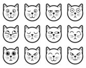 Cat smiley icons — Stock Vector