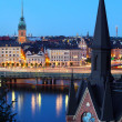 Stock Photo: Night view of Stockholm old city