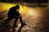 Depressed Man On Bench — Stock Photo
