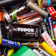 Assorted Household Batteries in garbage can — Stock Photo