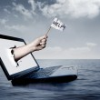 Laptop at sea — Stock Photo #4229416