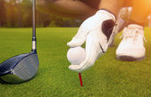 hand placing a tee with golf ball — Stock Photo