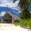 Stock Photo: Island of dreams. Rest and relaxation. Big bungalow on sandy