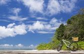The island of dreams. Rest and relaxation. Bicycle on moorage. — Stock Photo