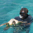 Stock Photo: Snorkeler at island coral reef with turtle. Seychelles.