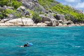 Een snorkelaar op een koraalrif eiland met schildpad. seychellen. — Stockfoto