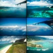 Collage of views with the aircraft. Seychelles. — Stock Photo