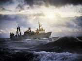 Fishing ship in strong storm. — Stock Photo