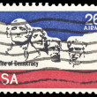 Stock Photo: USA-CIRC1974: 21 cent United States Airmail postage stamp sh