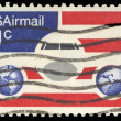 Stock Photo: USA-CIRC1976: 21 cent United States Airmail postage stamp, s