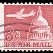 Stock Photo: USA-CIRC1962: 8 cent United States Airmail postage stamp sh