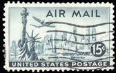 USA-CIRCA 1947: A 15 cent United States Airmail postage stamp, s — Stock Photo