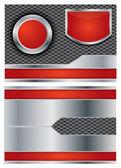 Metallic vector brochure with steel and red colors — Stock Vector