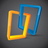 Abstract logo style linked rectangular 3d elements — Stock Vector