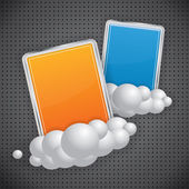 Rectangular glossy banners on clouds — Stock Vector