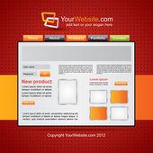 Red website template — Stock Vector