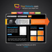 Web2 black website template with colorful elements — Stock Vector