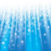 Fondo azul navidad con copos de nieve y las estrellas brillantes — Vector de stock