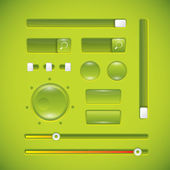 Green user interface, buttons and knobs — Stock Vector