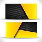 Moderna visitkort - gula och svarta färger — Stockvektor
