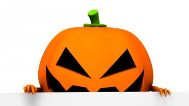 Halloween pumpkin with white board - 3d animation — Stock Video