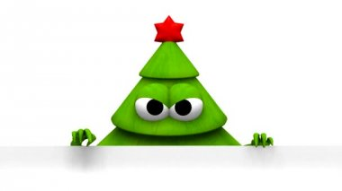 Christmas tree with white board - 3d animation — Stock Video