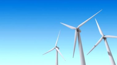 Wind turbines over blue sky - 3d loopy animation — Stock Video