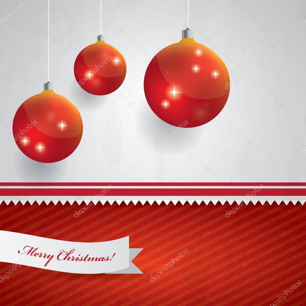 Abstract Christmas background with hanging Christmas balls and place for your text - red and white colors  Stock Vector #17132901