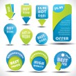 Blue and green special offer and sale labels and stickers - Stock Vector