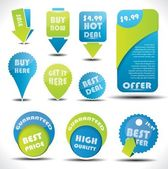 Blue and green special offer and sale labels and stickers — Stock Vector