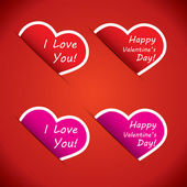 Valentinstag Herzen Label-Set - ideal für Valentin Konzepte — Stockvektor