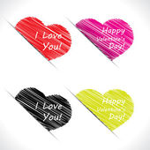 Scribble heart tags — Stock Vector