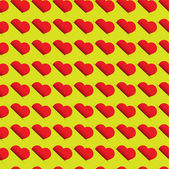 Seamless heart pattern - red hearts on green background — Cтоковый вектор
