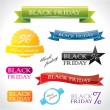 Vibrant labels and emblems with promotional Black Friday text — Stock Vector #41103649