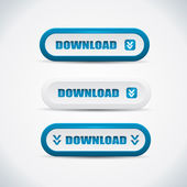Download buttons - blue and white vector illustration — Stock Vector