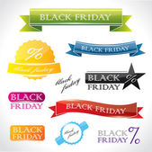 Vibrant labels and emblems with promotional Black Friday text — Stock Vector