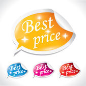 Best price sticker set - bubble shaped vector ilustrations — Stock Vector