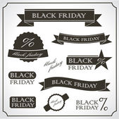 Black friday promotional vintage sticker - emblem set — Stock Vector
