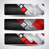 Metal banner set with carbon background and red elements — Stock Vector