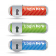 Glossy login buttons with keyhole and metal frame — Stock Vector #9094375