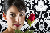 Face and rose — Stock Photo